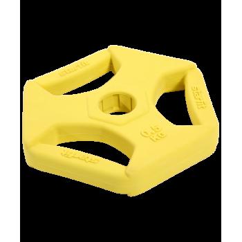 Диск обрезиненный с хватами BB-205 0,5 кг, d=26 мм, без стальной втулки, жёлтый