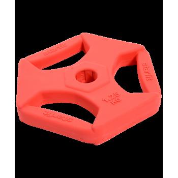 Диск обрезиненный с хватами BB-205 1,25 кг, d=26 мм, без стальной втулки, красный