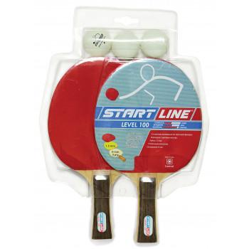 Набор START LINE: 2 Ракетки Level 100, 3 Мяча, упаковка блистер