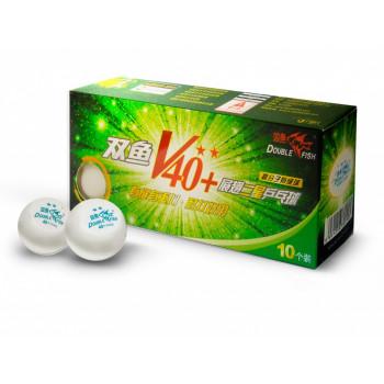 DOUBLE FISH 40+ 2*, 10 мячей в упаковке, белые. Для продвинутых игроков.