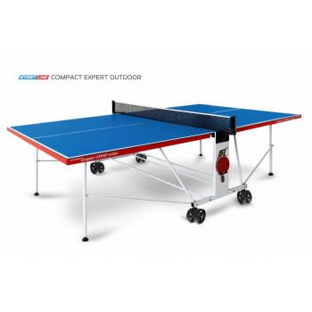 Теннисный стол Compact Expert Outdoor blue - складная модель всепогодного теннисного стола для улицы и помещений. Механизм трансформации.