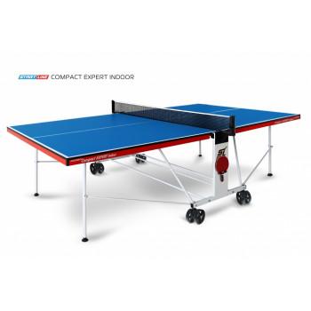 Теннисный стол Compact Expert Indoor blue - компактная модель теннисного стола для помещений.  Уникальный механизм трансформации.