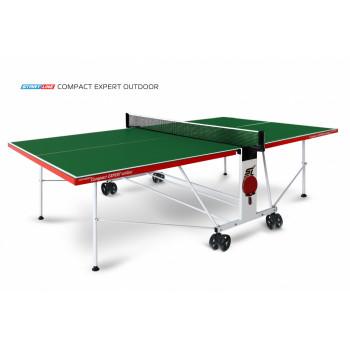Теннисный стол Compact Expert Outdoor green - складная модель всепогодного теннисного стола для улицы и помещений. Механизм трансформации.
