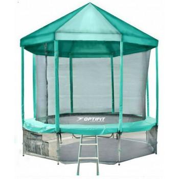 Батут Optifit Like Green 14ft с зеленой крышей
